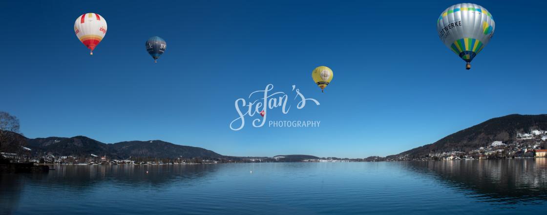 """Montgolfiade on Lake Tegernsee"" stock image"