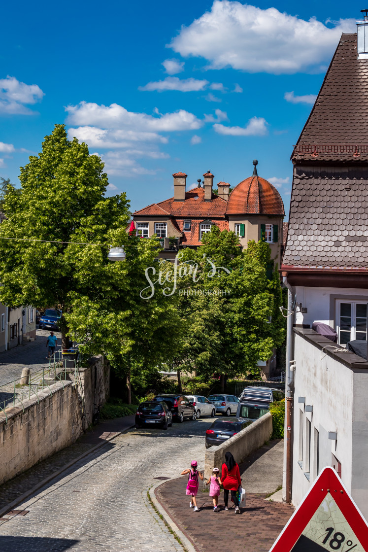 """""""Landsberg am Lech, street to the city wall"""" stock image"""