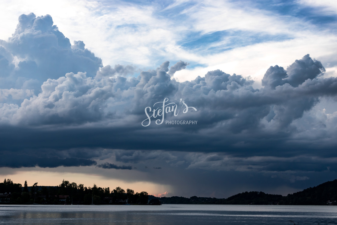 """""""cumulus storm clouds with lake"""" stock image"""