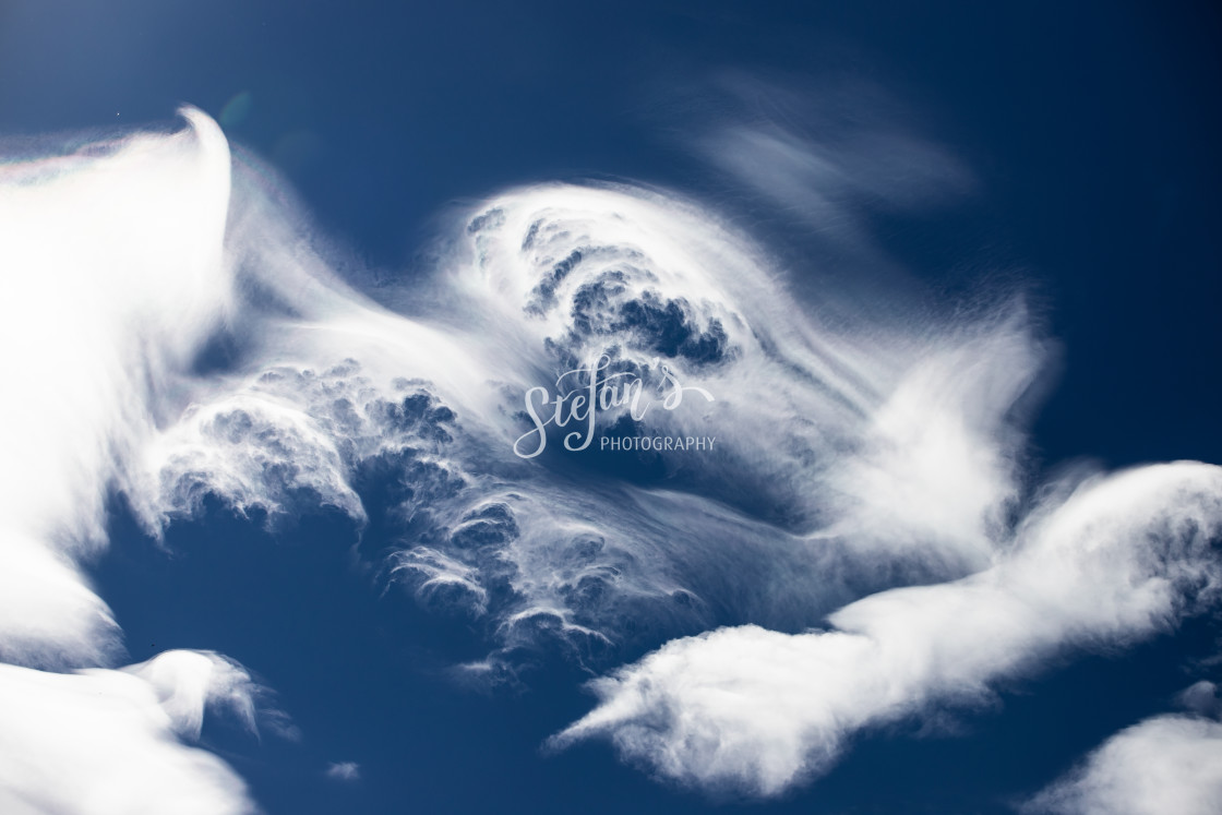 """""""Wispy Cloud Formations by the Tegernsee"""" stock image"""