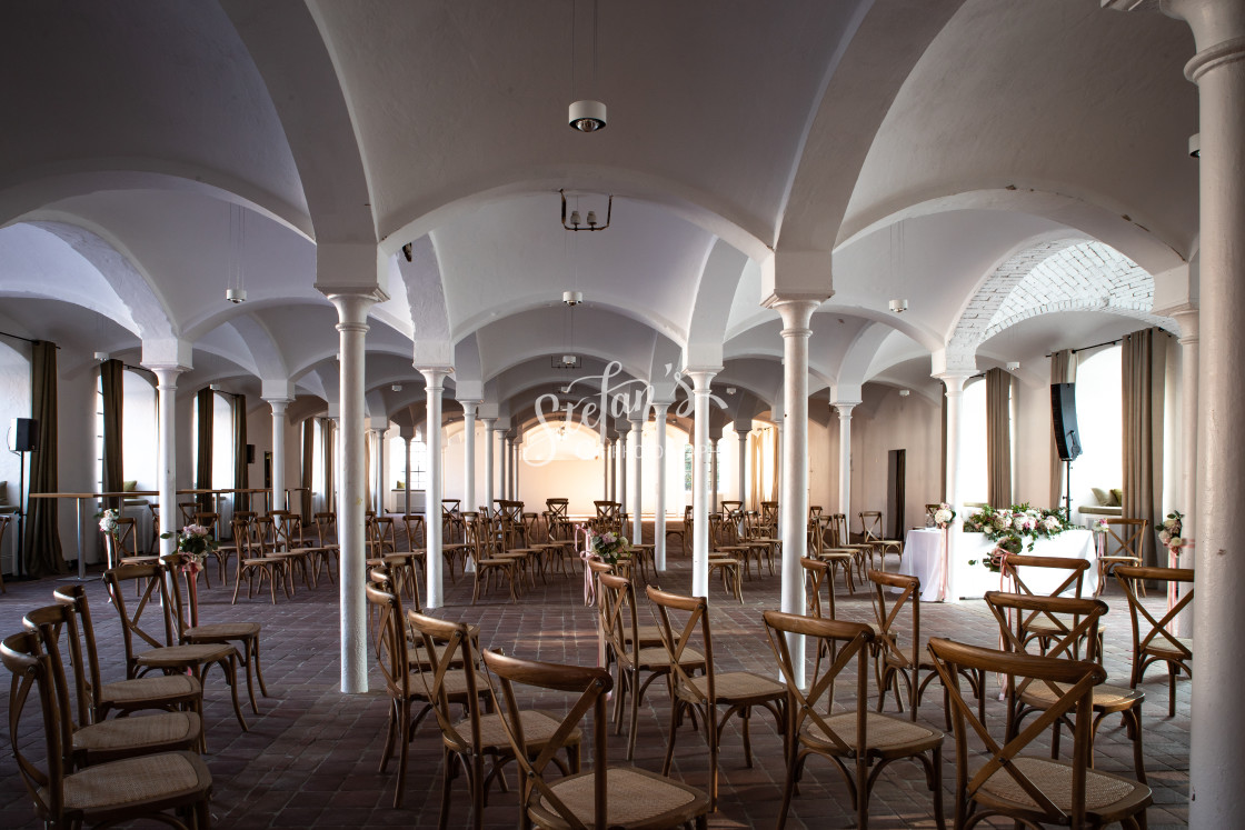 """""""Column hall with seating"""" stock image"""