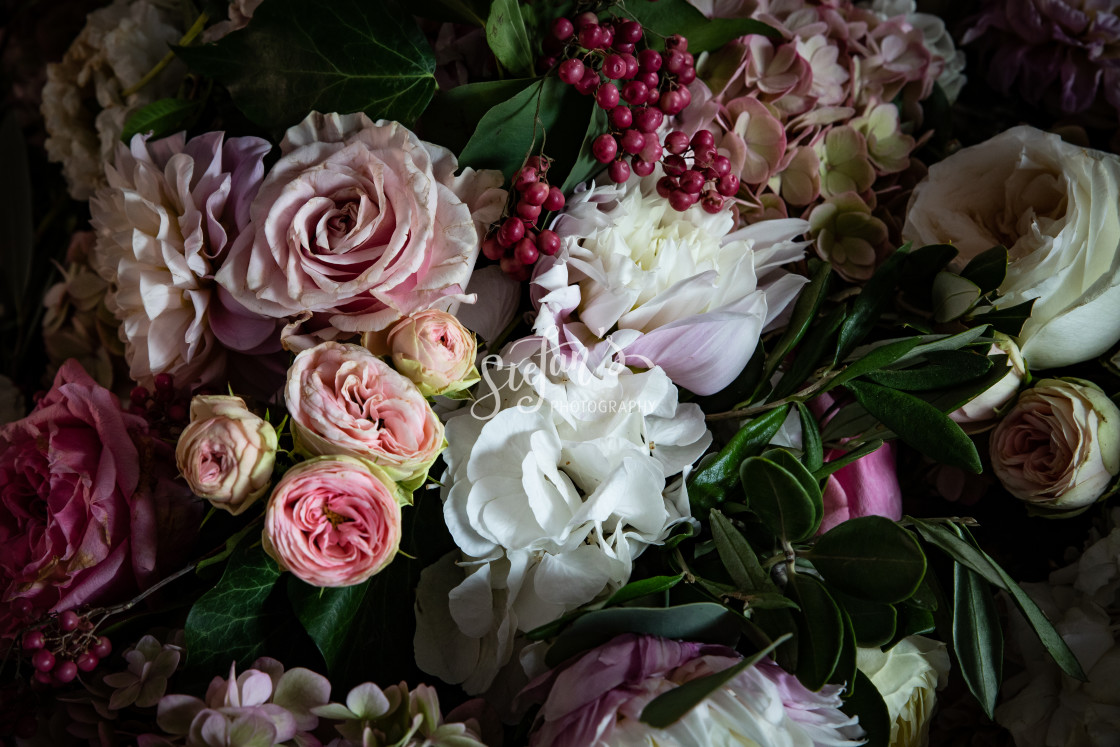 """""""floral decorations for a wedding"""" stock image"""