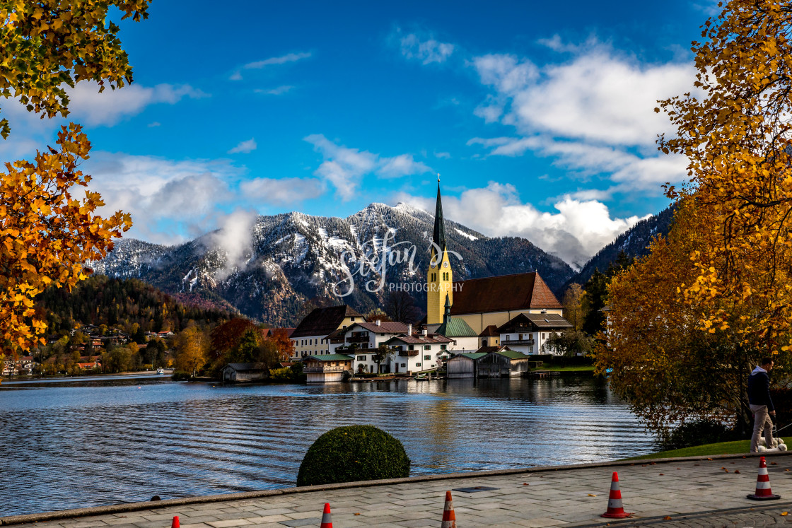 """Bavarian village on the lake"" stock image"