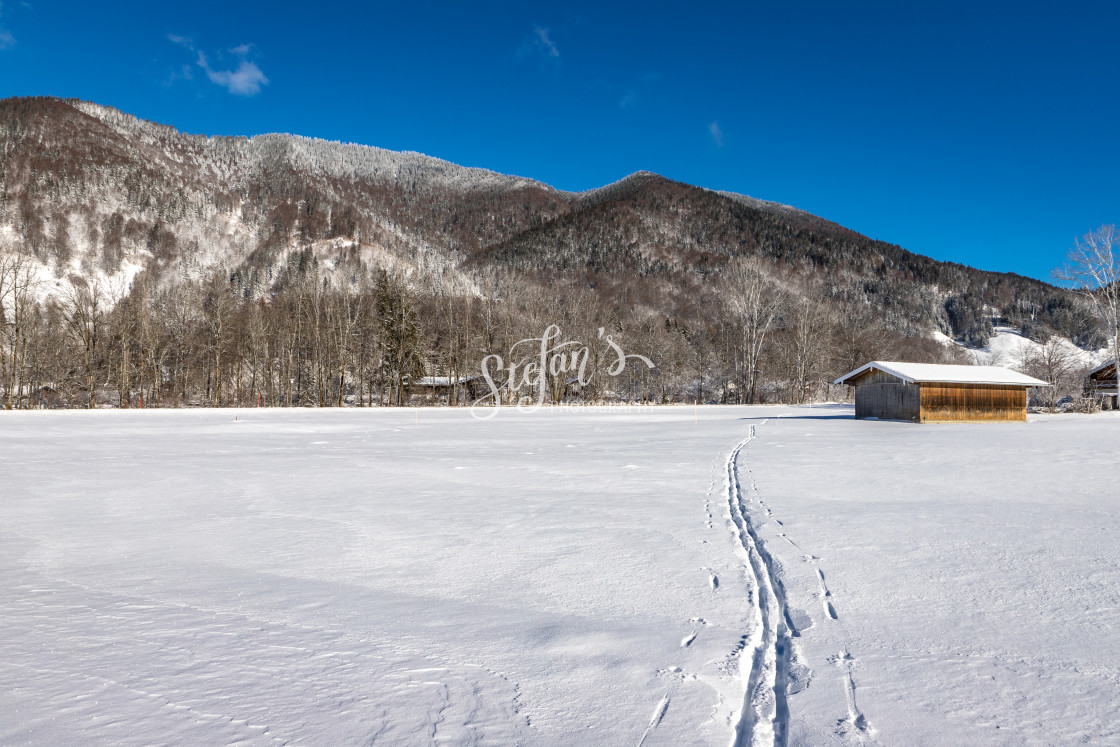 """""""Winter landscape with cross-country track"""" stock image"""