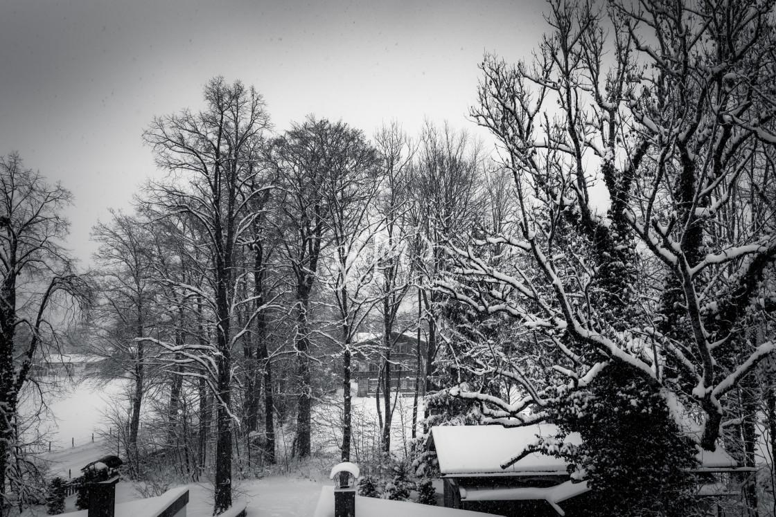 """Snowfall, park with villa"" stock image"