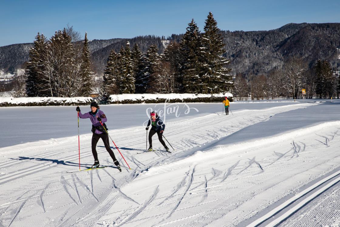 """Classic cross-country ski run and skating"" stock image"