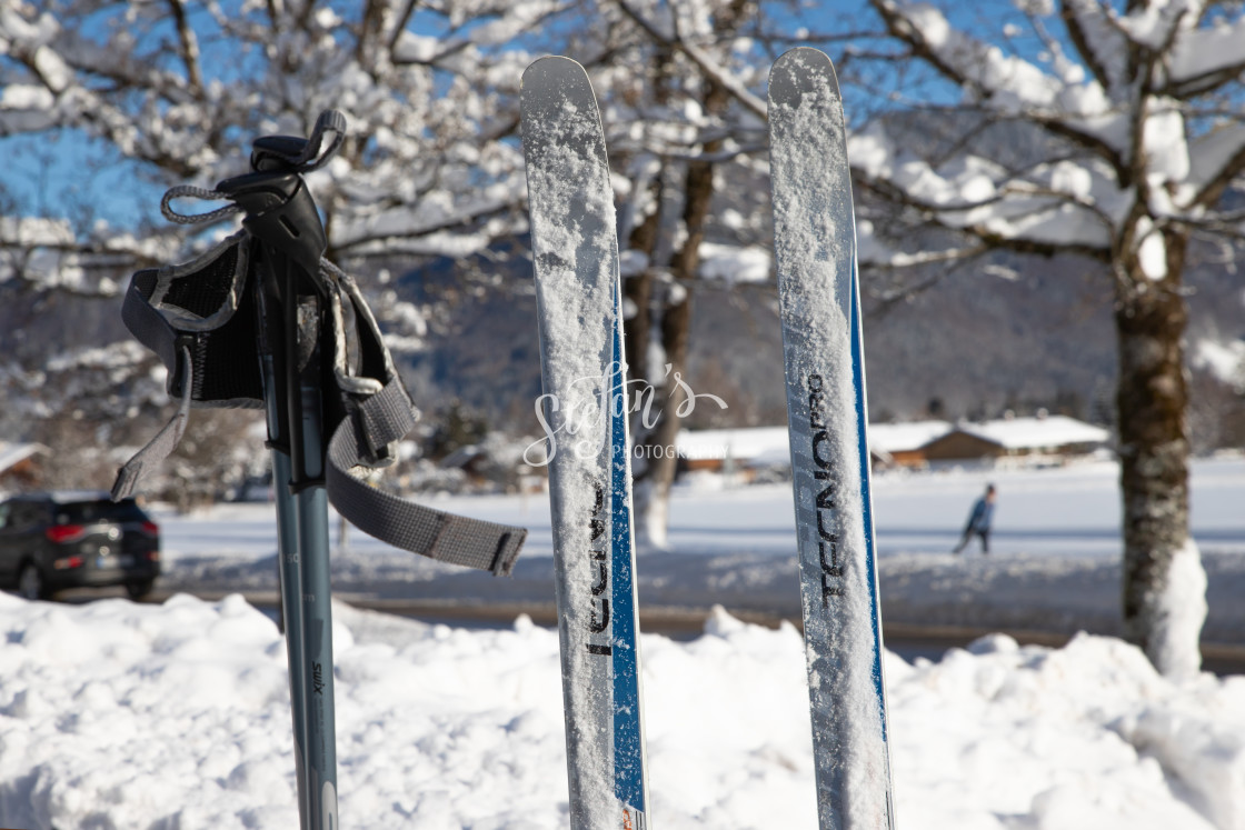 """""""Cross-country skiing set in front of a snowy landscape"""" stock image"""