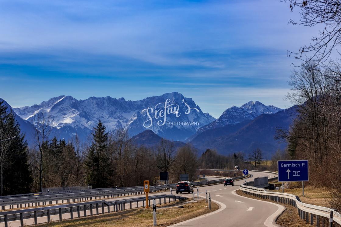 """""""Munich Garmisch motorway"""" stock image"""