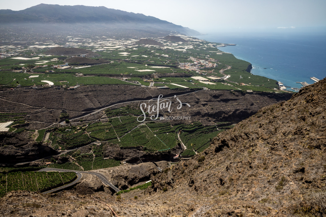 """La Palma with a view of banana plantations"" stock image"