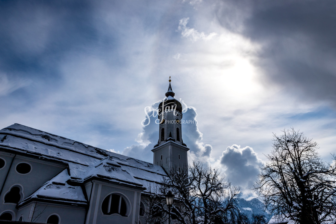"""""""Baroque church with clouds"""" stock image"""