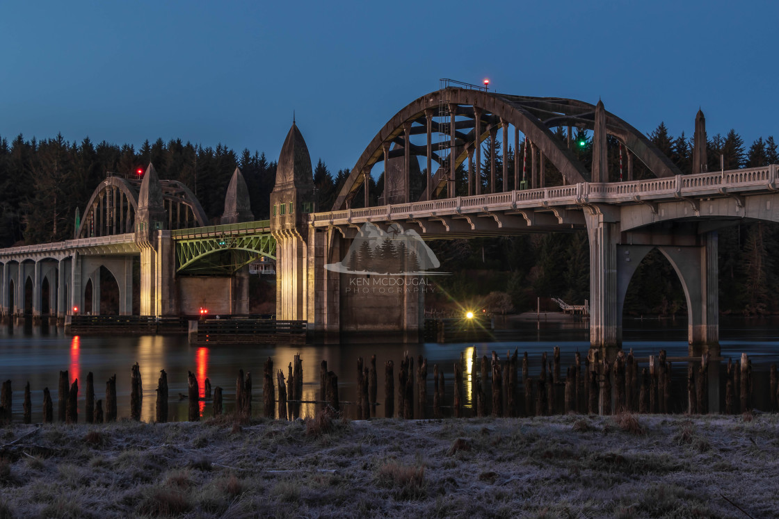 """Siuslaw Bridge at Dawn"" stock image"