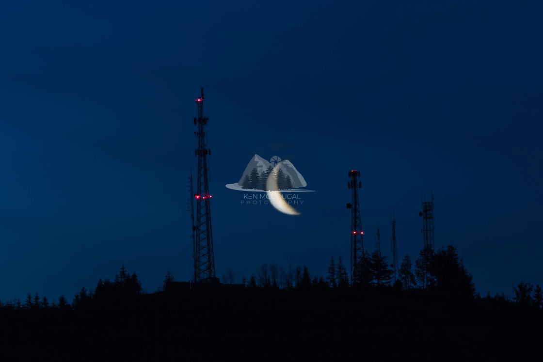 """Crescent Moon Rising"" stock image"