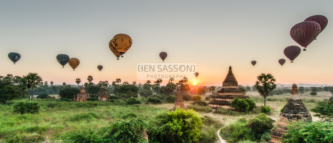 """Sunrise and hot air balloons over Bagan, Myanmar"" stock image"
