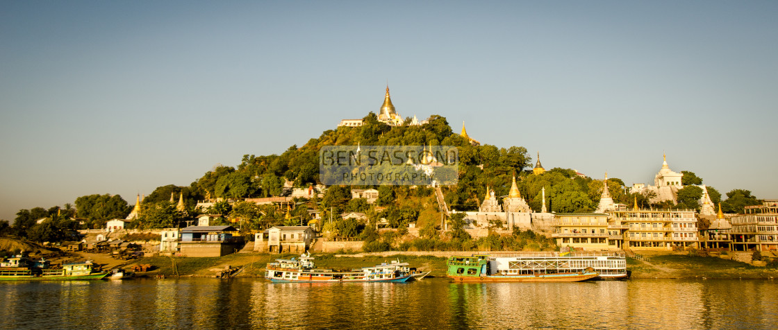 """""""Sagaing from Irrawaddy river, Myanmar"""" stock image"""