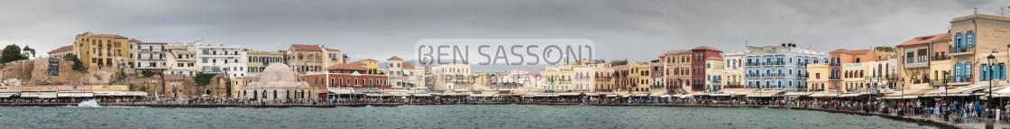 """Panorama of Chania harbour, Crete"" stock image"