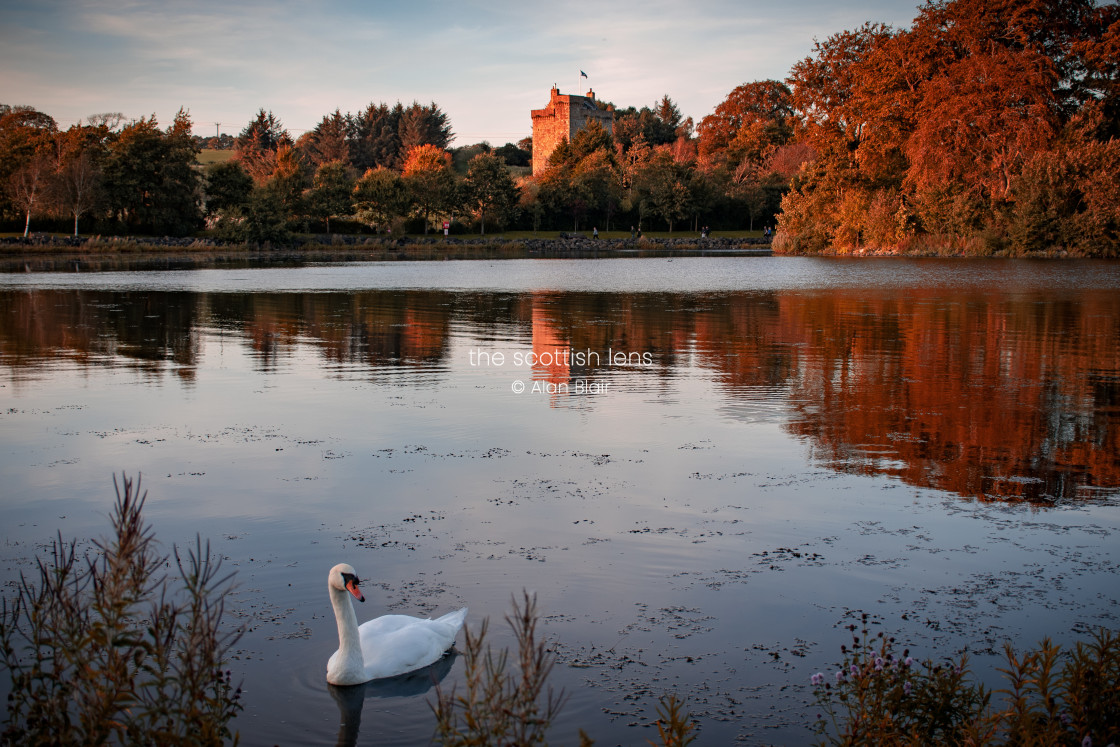 """Autumn Sunset at the Loch"" stock image"