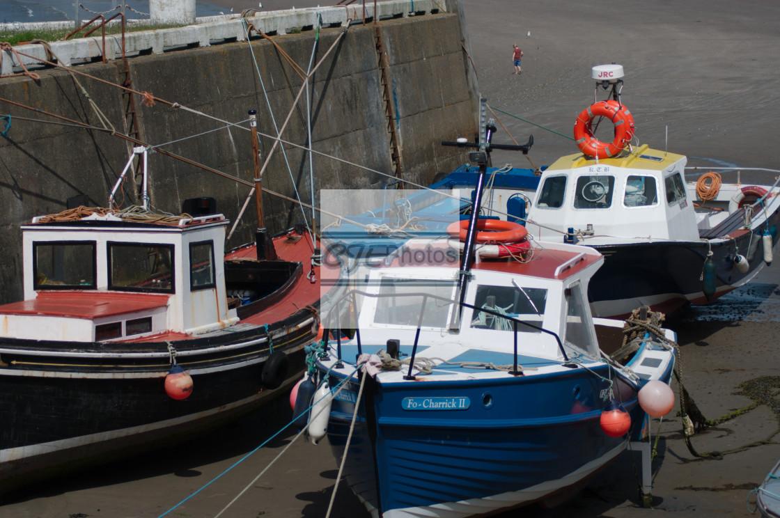 """Boats moored on Port Erin beach, Isle of Man"" stock image"