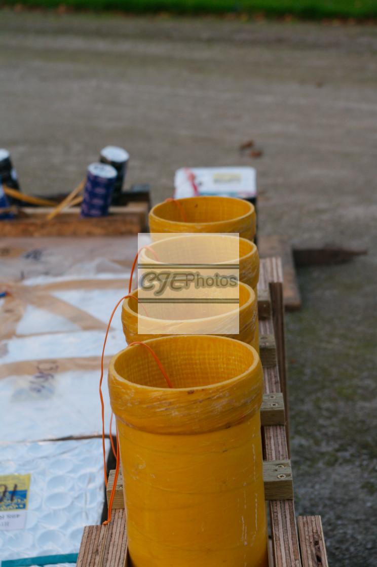 """""""Firework shells ready to fire"""" stock image"""