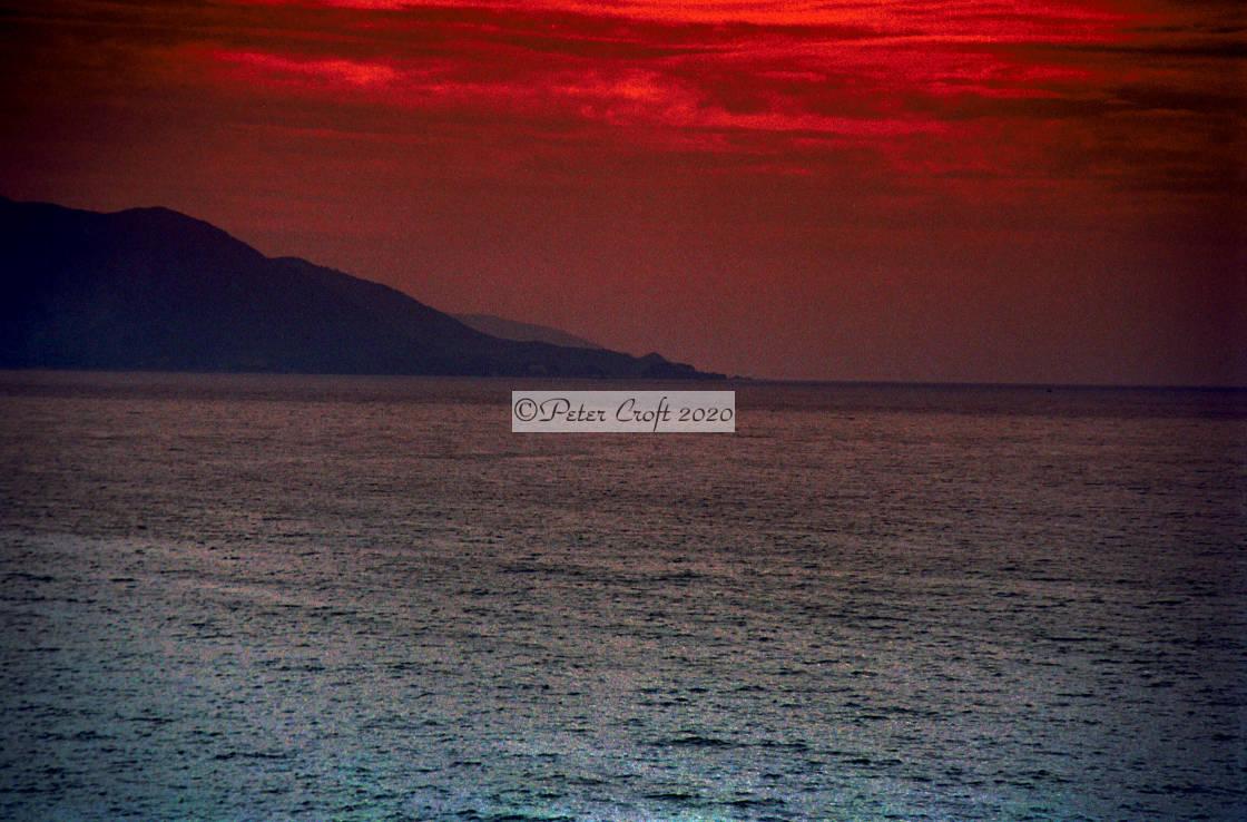"""""""The Japan Sea, (false colour)."""" stock image"""