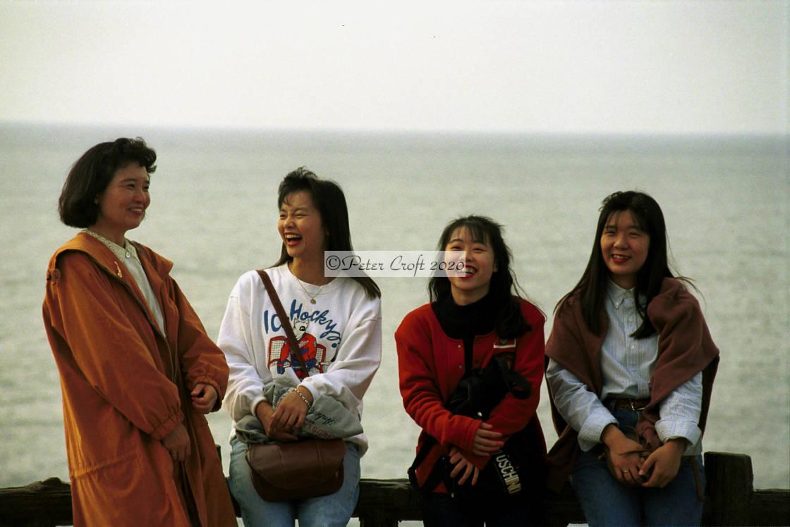 """A happy group of ladies, Awara Spa, Japan."" stock image"