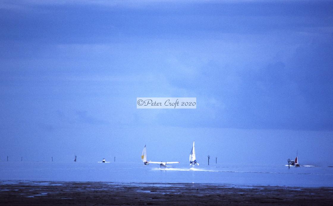 """Ski plane takeoff and yachts, Cairns, Australia"" stock image"