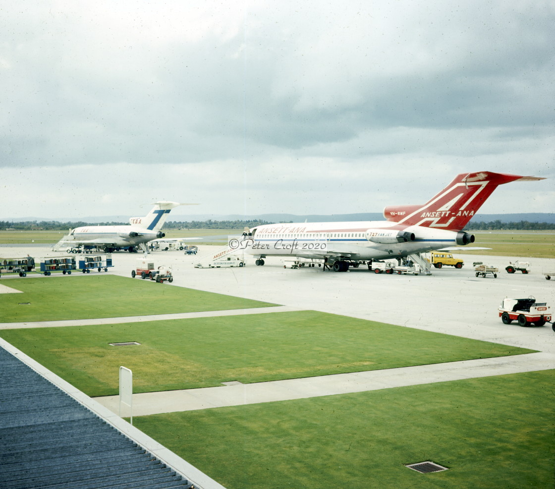 """Boeing 727 jets at Perth Airport, Western Australia, 1968"" stock image"