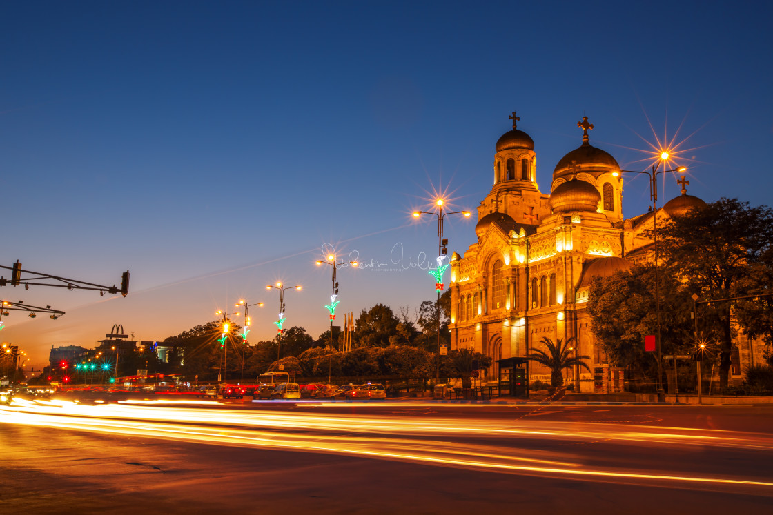 """The Assumption Cathedral, Varna, Bulgaria. Illuminated at night."" stock image"