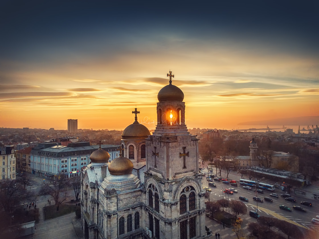 """""""The Cathedral of the Assumption in Varna, Aerial view"""" stock image"""