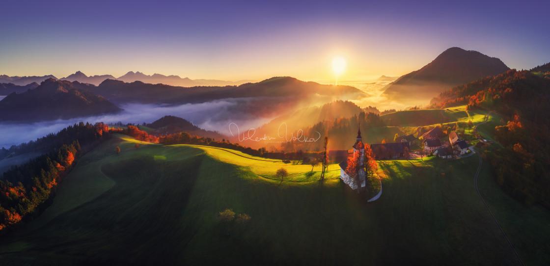 """Aerial view of Saint Tomas church, Slovenia"" stock image"