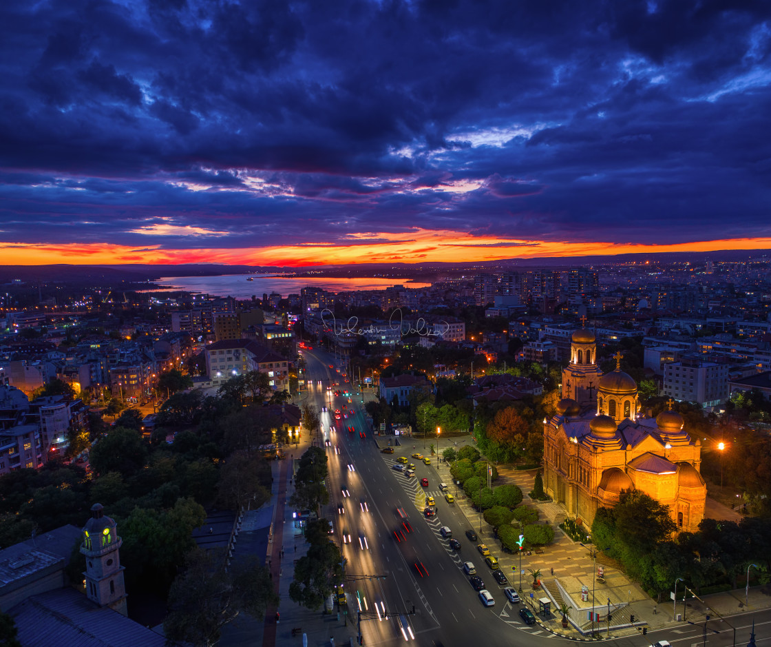"""""""Aerial view of Varna at sunset"""" stock image"""