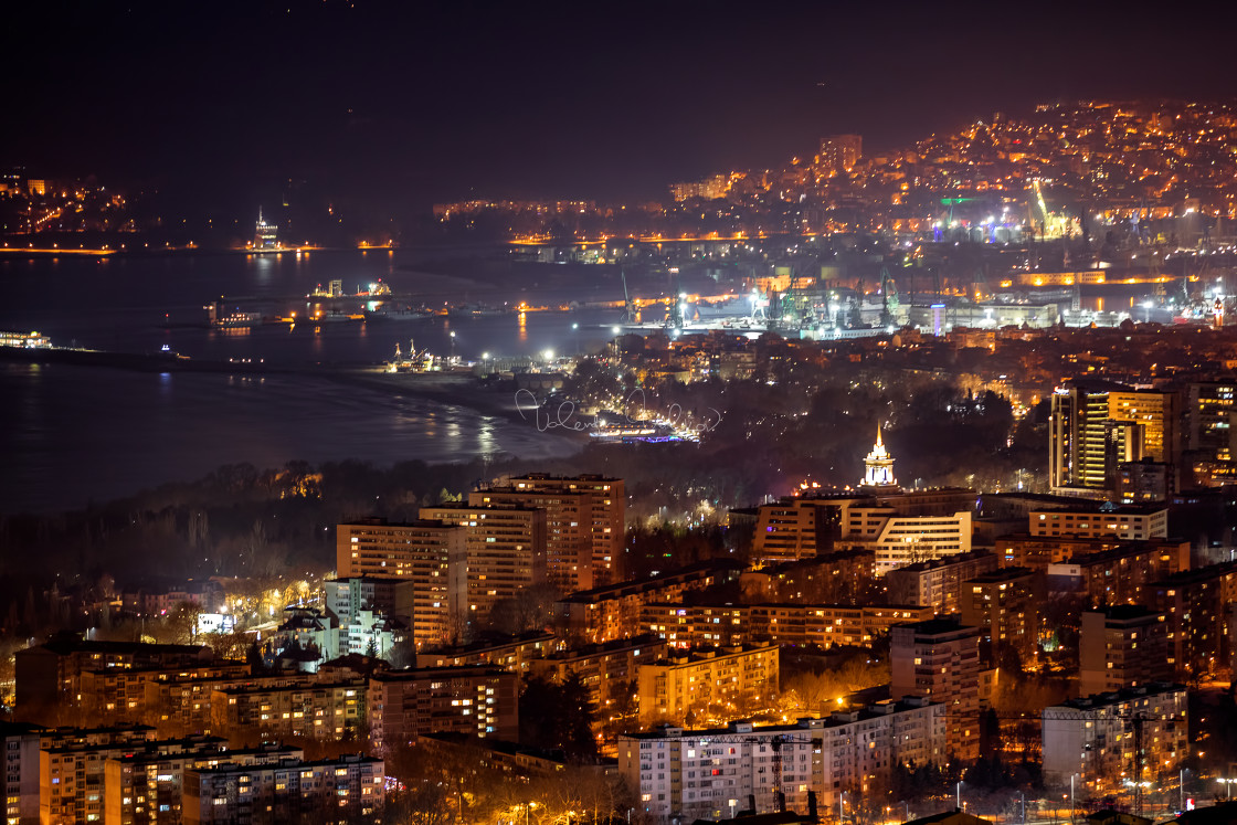 """Night aerial view panorama of Varna Town"" stock image"