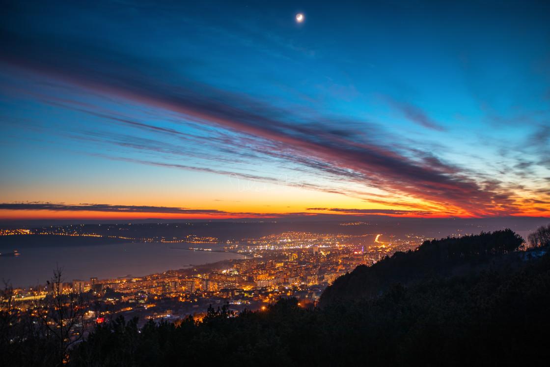 """""""Night aerial view panorama of Varna Town"""" stock image"""
