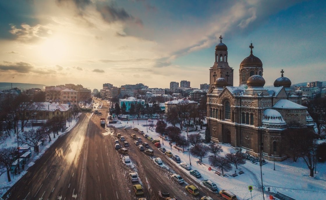 """""""Aerial view of The Cathedral of the Assumption in Varna"""" stock image"""
