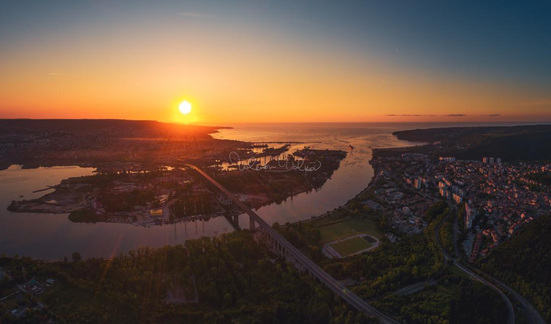 """Aerial panorama drone view of Asparuhov bridge and Varna city, B"" stock image"