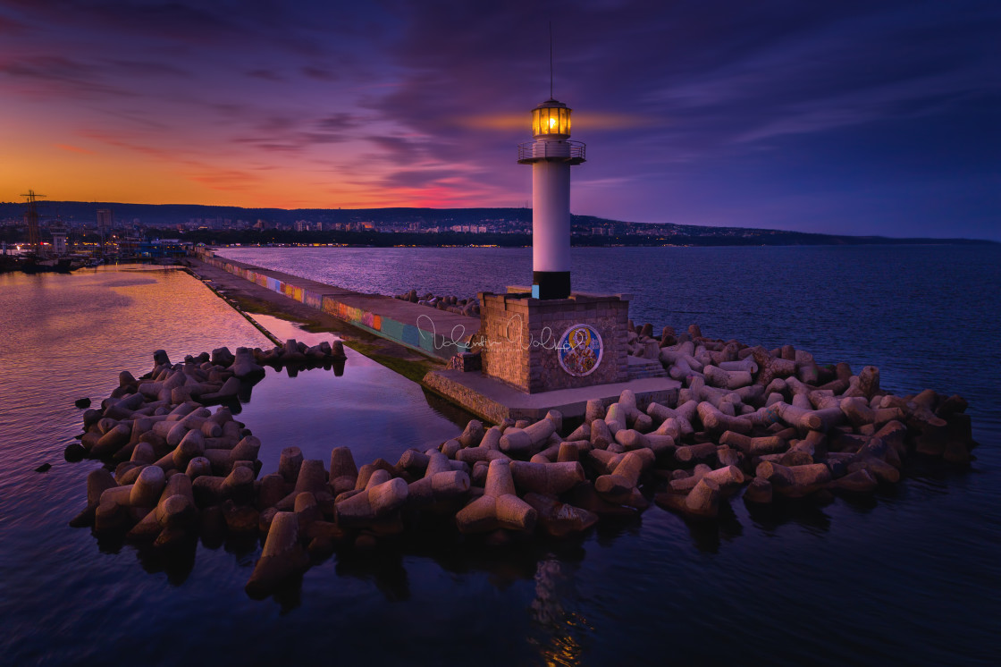 """""""Aerial view of lighthouse at sunset in Varna, Bulgaria"""" stock image"""