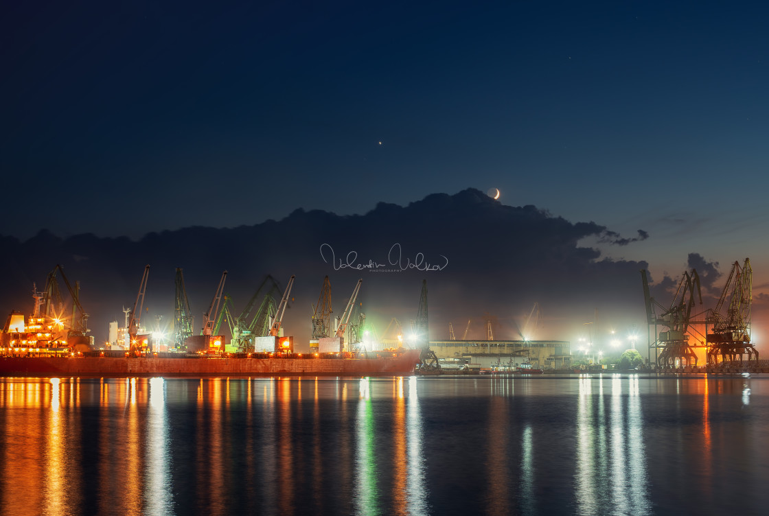 """""""Industrial cranes and cargo ships in Varna port, Bulgaria at sun"""" stock image"""