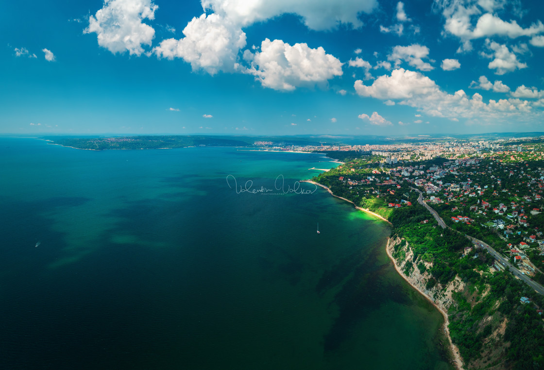"""""""Aerial drone view of sea and coast above Varna, Bulgaria. Beautiful summer day."""" stock image"""