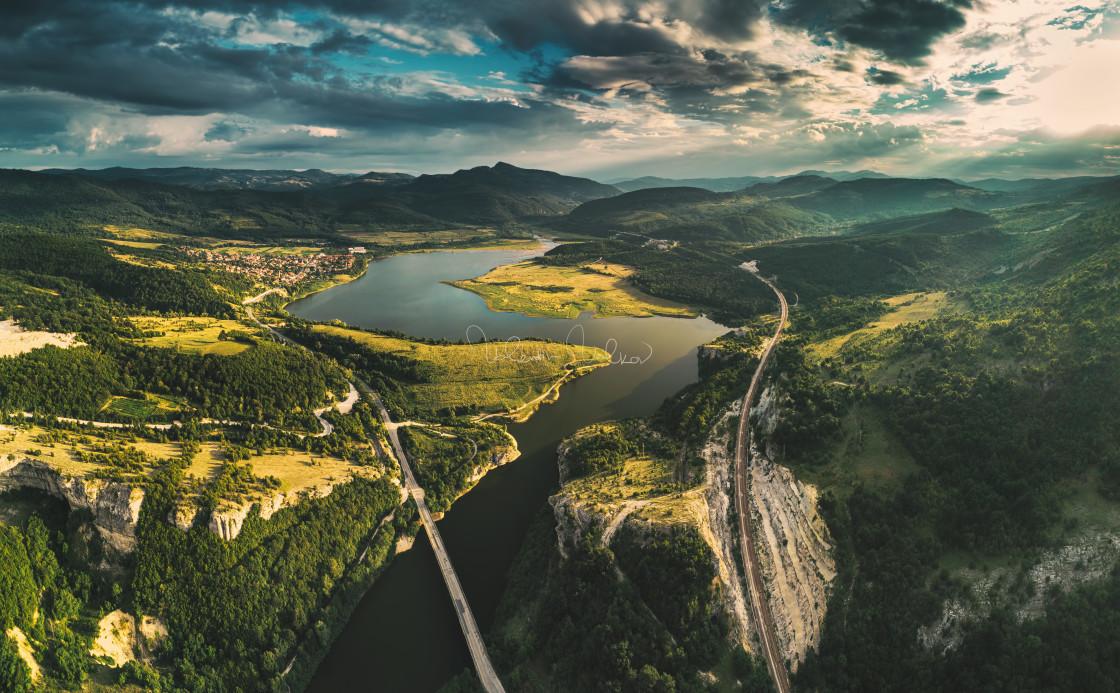 """Aerial view of a bridge crossing the Tsonevo lake near Varna, Bu"" stock image"