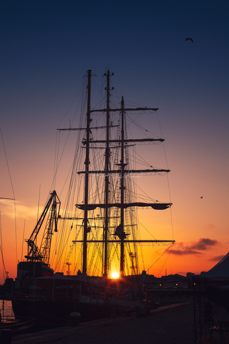 """Yacht port and beautiful sunset over Varna, Bulgaria. Sailboat h"" stock image"
