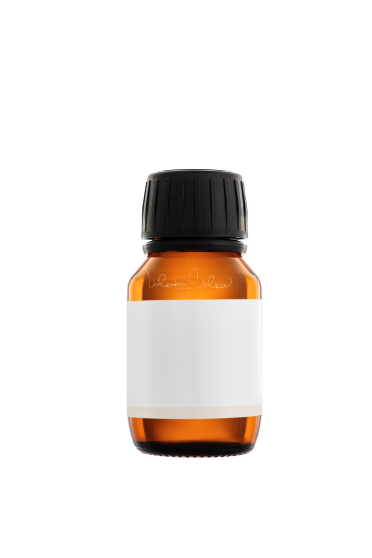 """Aromatherapy essential oil serum bottle, isolated over white bac"" stock image"