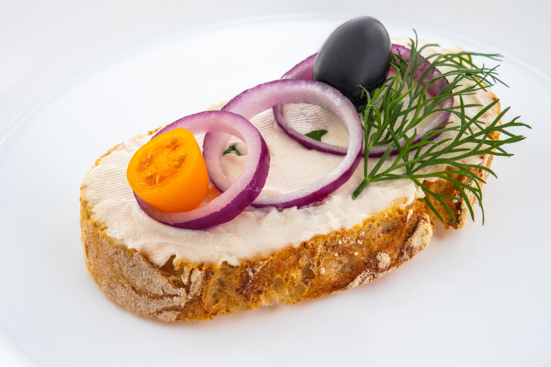 """""""Tasty caviar with sandwich bread in a plate isolated on white ba"""" stock image"""