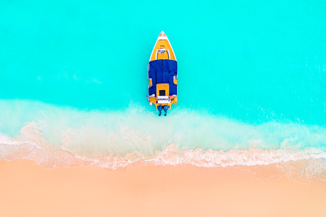 """Carribean sea and boat on the shore, beautiful panoramic view"" stock image"