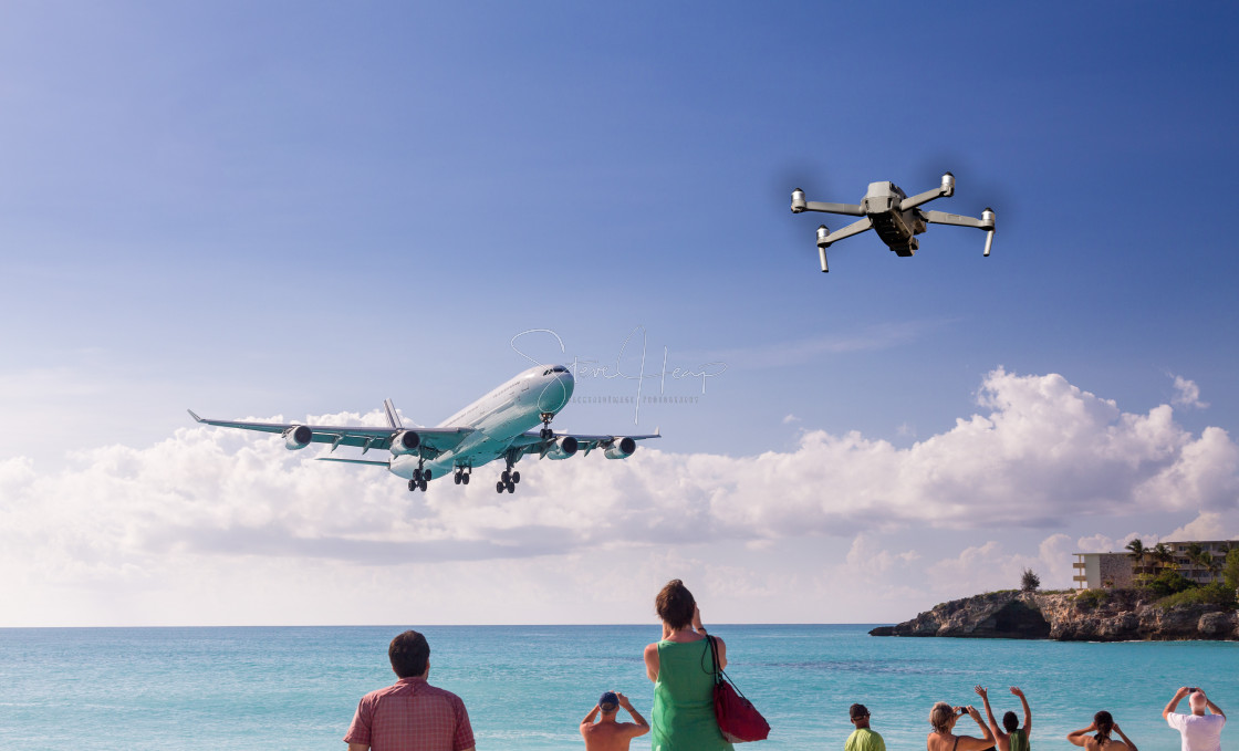 """""""Concept of drone risking airplane landing at Princess Juliana airport"""" stock image"""