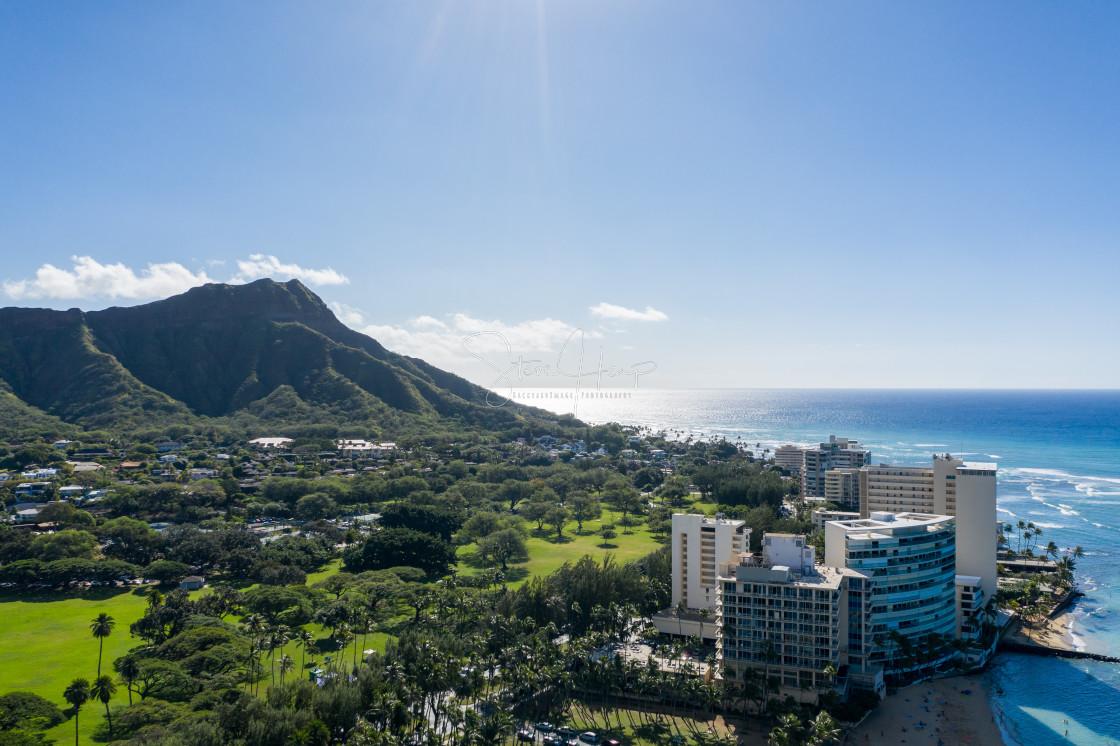 """Aerial view of Waikiki looking towards Diamond Head on Oahu"" stock image"