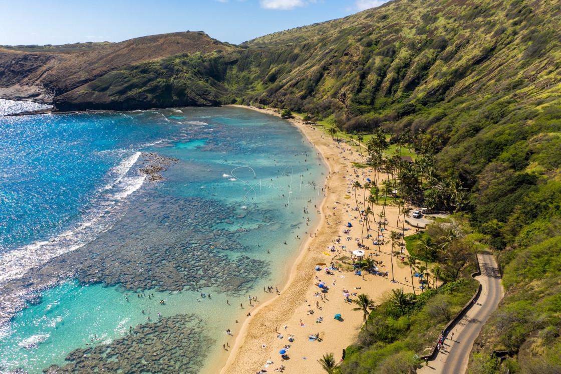 """Aerial view of Hanauma Bay nature preserve on Oahu, Hawaii"" stock image"