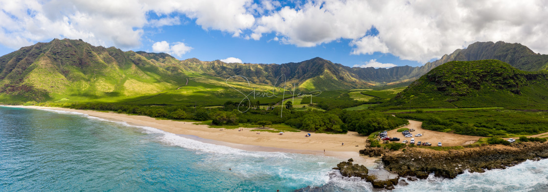 """""""Makua beach and valley on west coast of Oahu in aerial shot over ocean"""" stock image"""