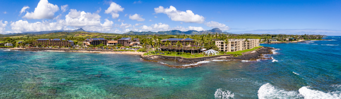 """""""Aerial drone shot of Lawai Beach on the south shore of Kauai in Hawaii"""" stock image"""