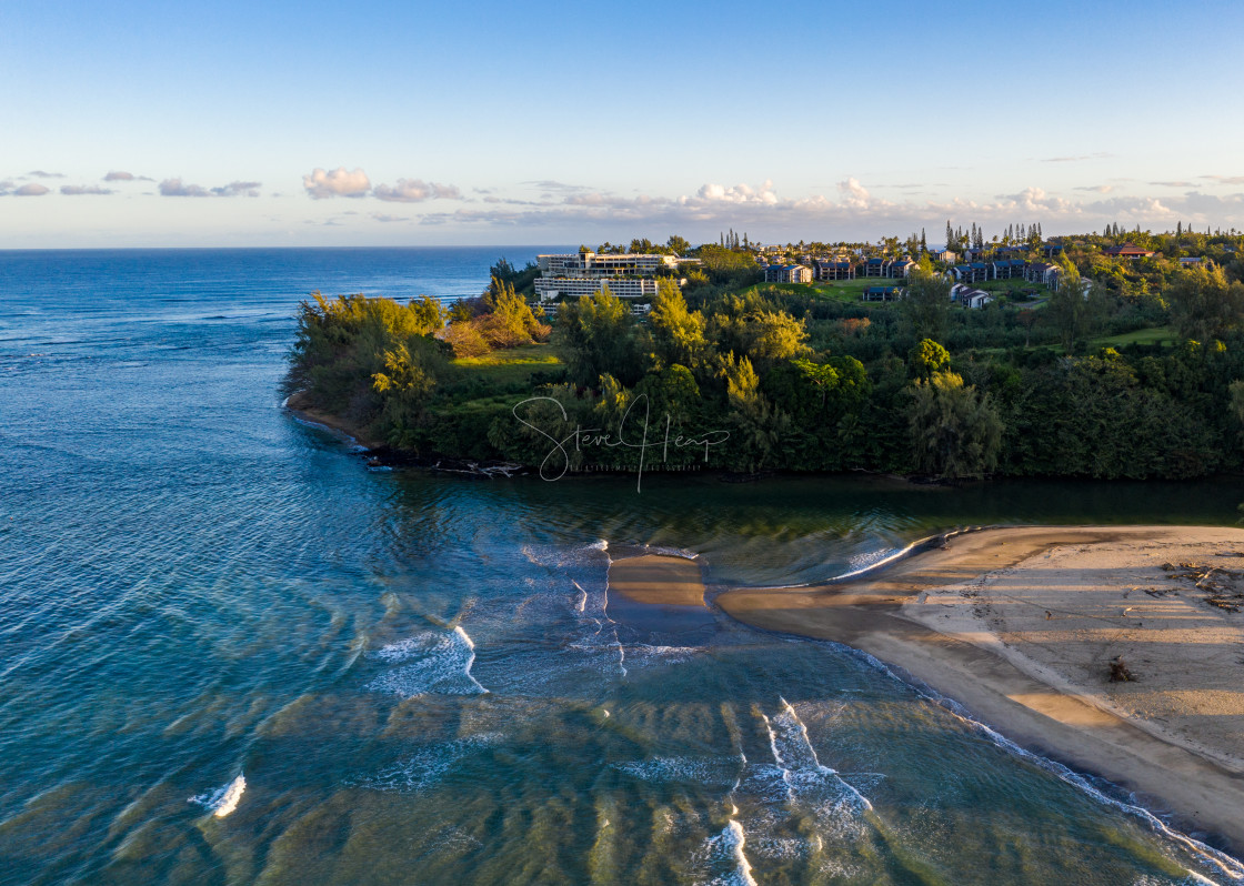 """""""Aerial drone shot of Hanalei bay and Princeville on the north shore of Kauai..."""" stock image"""