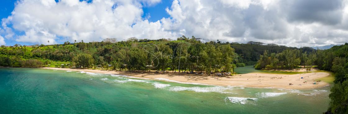 """Aerial drone shot of Kalihiwai Beach on the north shore of Kauai in Hawaii"" stock image"