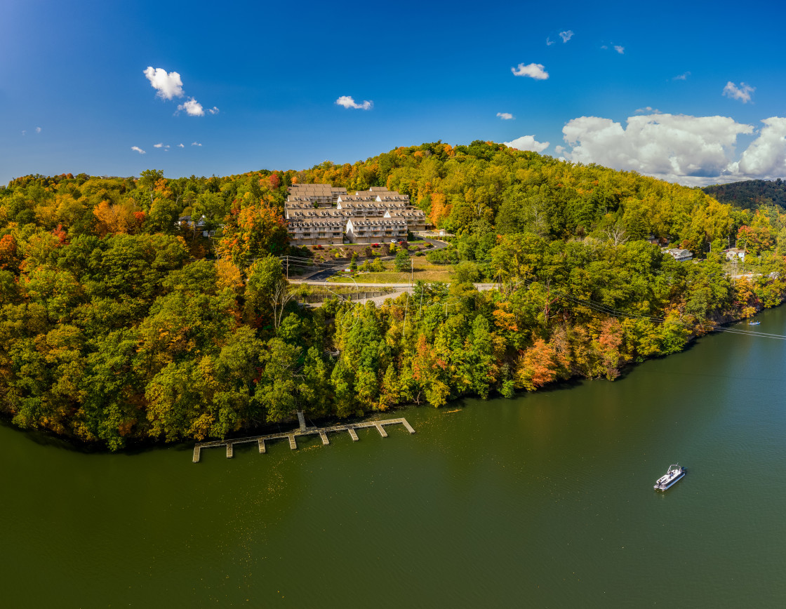 """""""Falls colors surround townhouse development by Cheat Lake in Morgantown, WV"""" stock image"""